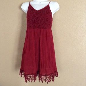 Poetry Red Crochet Dress Size M